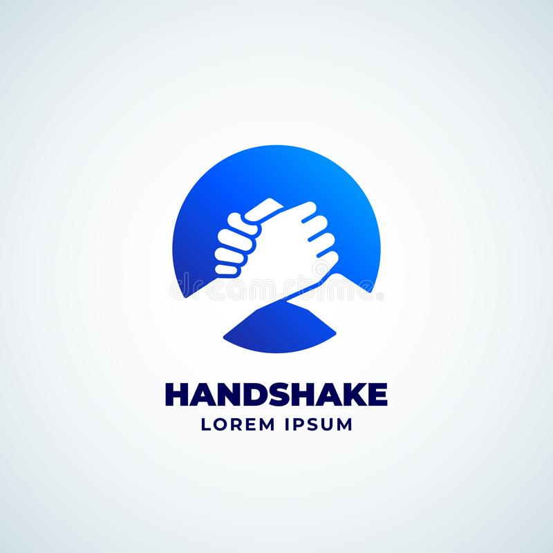 Bro Handshake Abstract Vector Sign, Symbol or Logo Template. Friends, Partners or Brothers Hand Shake Incorporated in a vector illustration