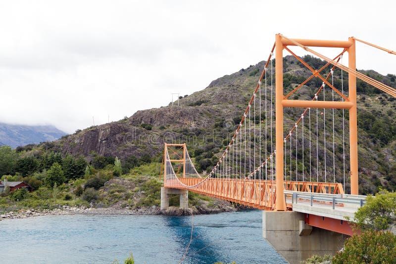 Bro längs den Austral Carreteraen, Patagonia, Chile arkivfoton
