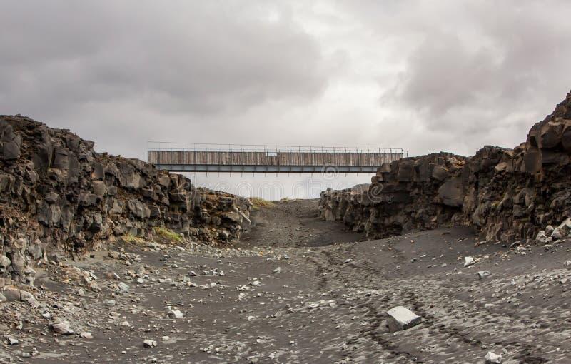 Bro mellan kontinenter, Island arkivfoto