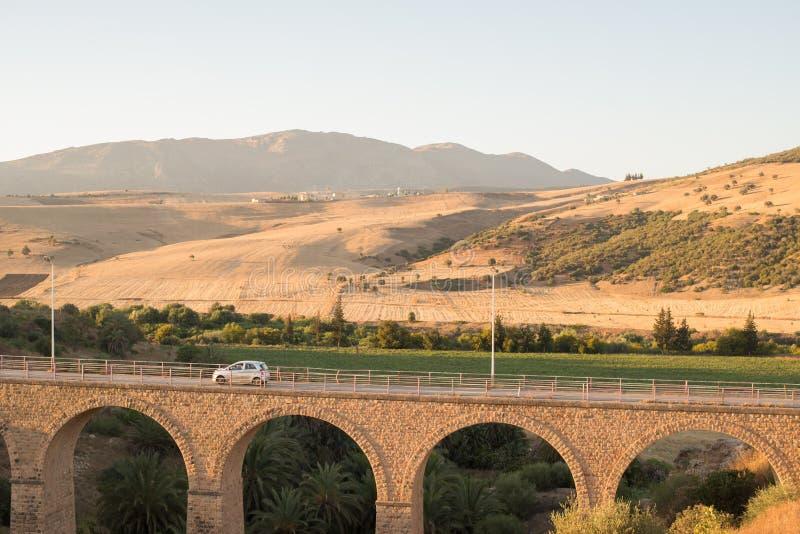 Bro och berg arkivbild