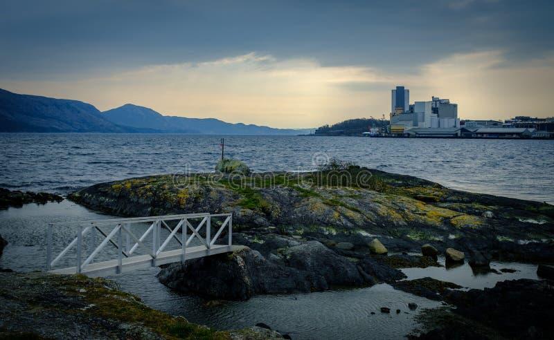 Bro och fjord i Norge royaltyfri fotografi