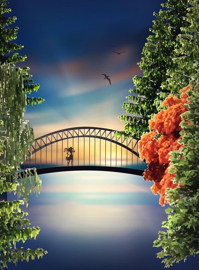 Bro ovanför sjön på solnedgången royaltyfri bild
