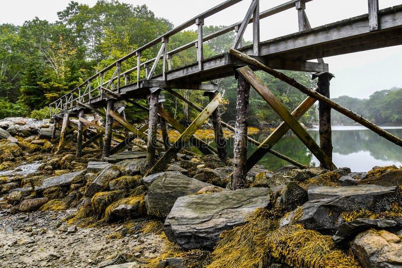 Bro på en liten vik i Maine fotografering för bildbyråer