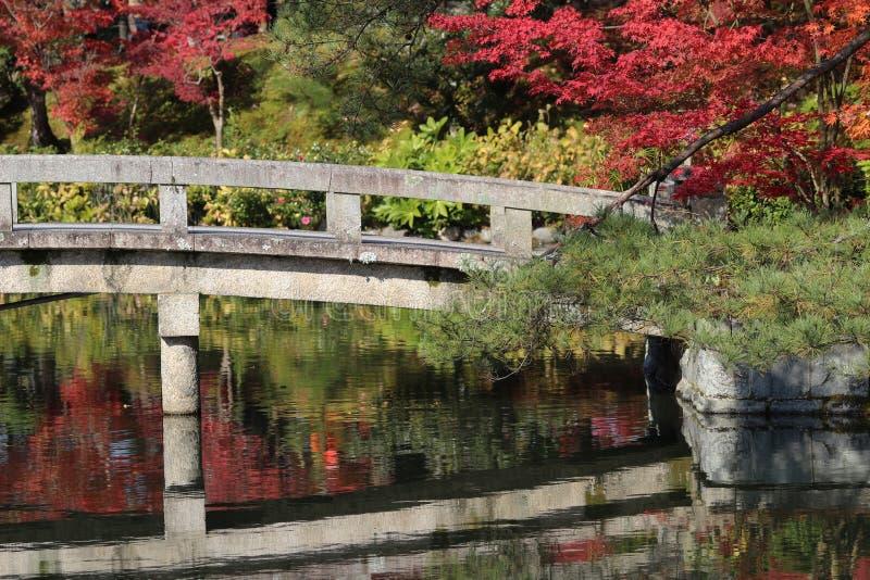Bro på Hojo Pond vid den Eikando Zenrin-ji templet i Kyoto royaltyfri foto