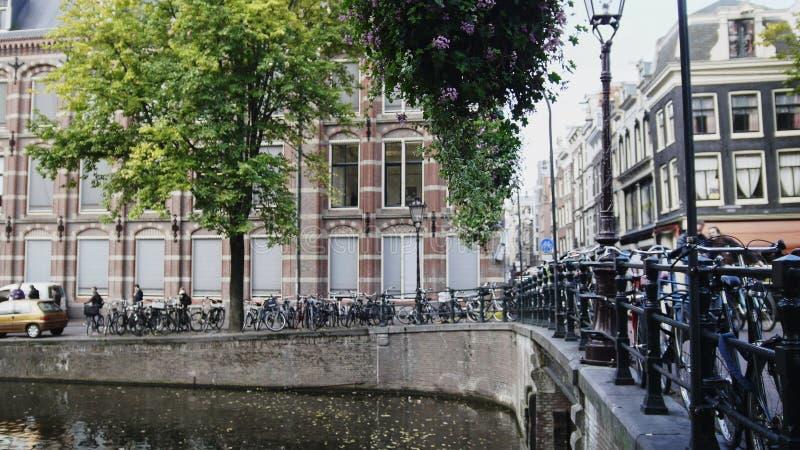 Bro på kanalen i Amsterdam, Amstel, Holland, Nederländerna royaltyfri bild