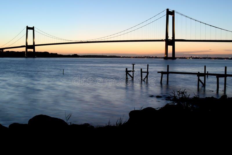 Bro på lillebaelt Danmark royaltyfri foto