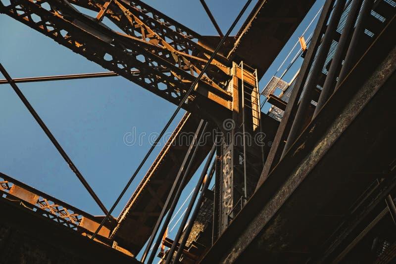 Bro på solnedgången i Pittsburgh arkivbilder
