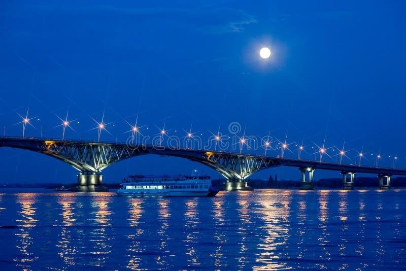 Bro på Volgaet River mellan städerna av Saratov och Engels, sommarafton arkivbild