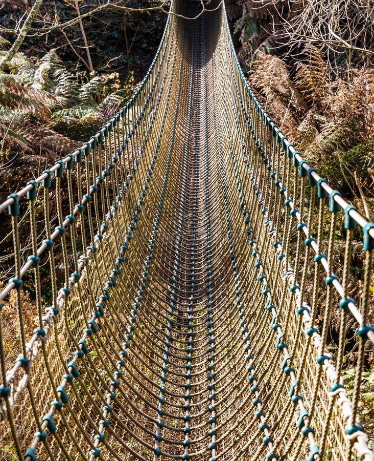 Bro som göras av rep, remmar arkivbilder