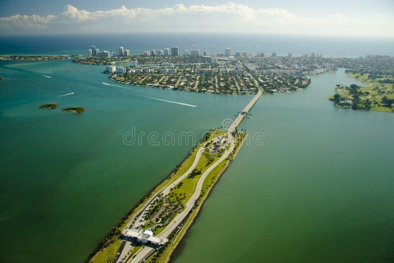Aerial view over Miami stock photo