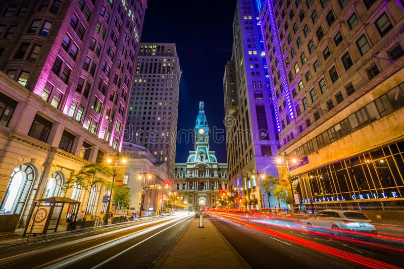 Broad Street and City Hall at night, in Center City, Philadelphia, Pennsylvania royalty free stock photography