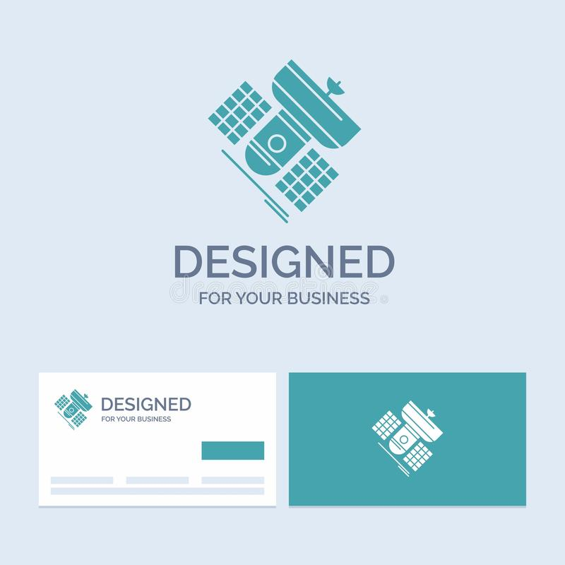 Broadcast, broadcasting, communication, satellite, telecommunication Business Logo Glyph Icon Symbol for your business. Turquoise. Business Cards with Brand stock illustration