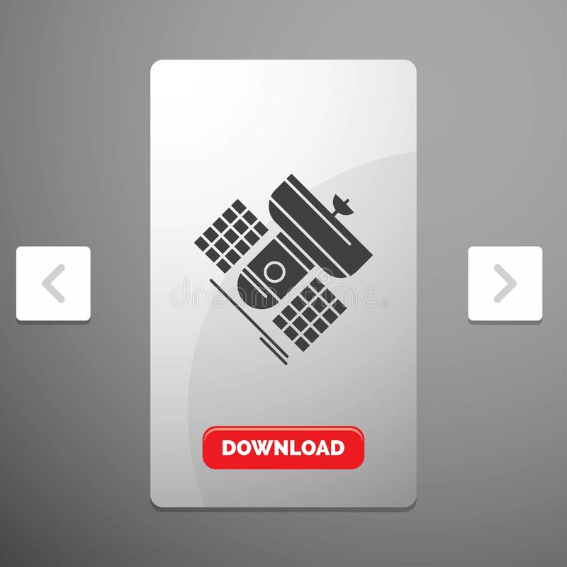Broadcast, broadcasting, communication, satellite, telecommunication Glyph Icon in Carousal Pagination Slider Design & Red. Download Button. Vector EPS10 stock illustration