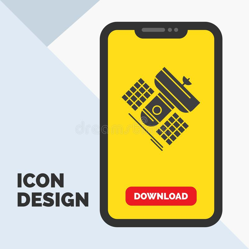 Broadcast, broadcasting, communication, satellite, telecommunication Glyph Icon in Mobile for Download Page. Yellow Background. Vector EPS10 Abstract Template vector illustration