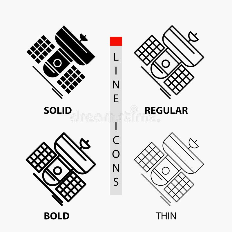 Broadcast, broadcasting, communication, satellite, telecommunication Icon in Thin, Regular, Bold Line and Glyph Style. Vector. Illustration. Vector EPS10 royalty free illustration