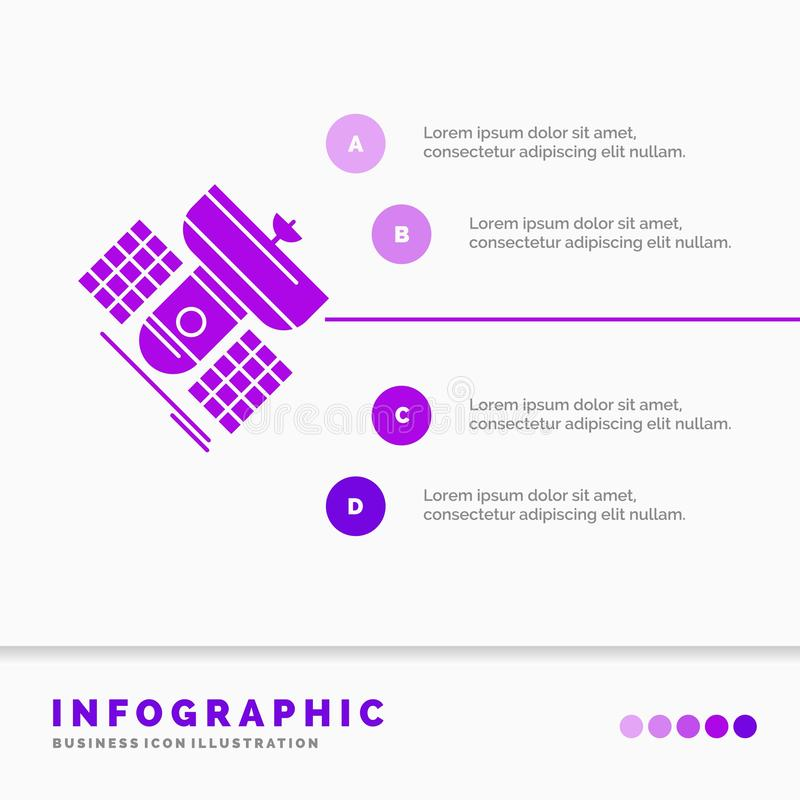 Broadcast, broadcasting, communication, satellite, telecommunication Infographics Template for Website and Presentation. GLyph. Purple icon infographic style royalty free illustration