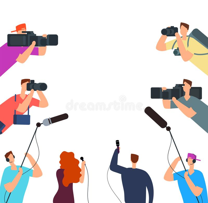 Broadcast interview. Tv journalists with camera and microphones online. News on air vector concept. Journalist interview live, journalism and reporter royalty free illustration