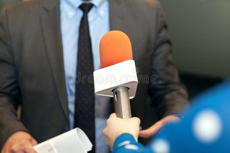 Media interview. Public relations - PR. royalty free stock photo