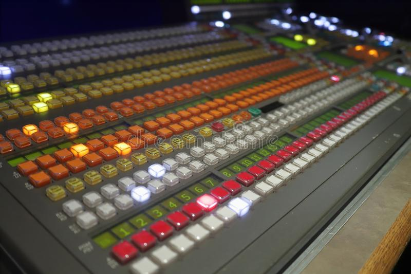 Broadcast production video switcher, vision mixer royalty free stock photos