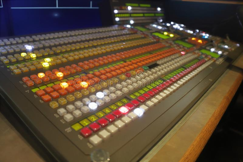 Broadcast production video switcher, vision mixer stock photo
