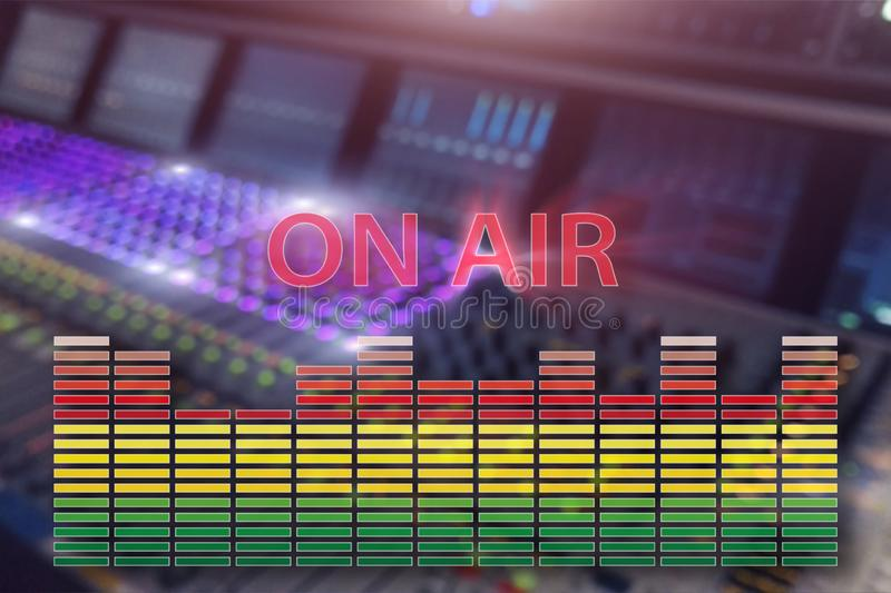 Broadcast studio on air. Media sound, radio and television record on professional audio panel blurred background. royalty free stock photos