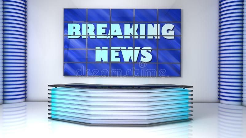 Broadcast studio breacking news. Blue broadcast studio breaking news stock image