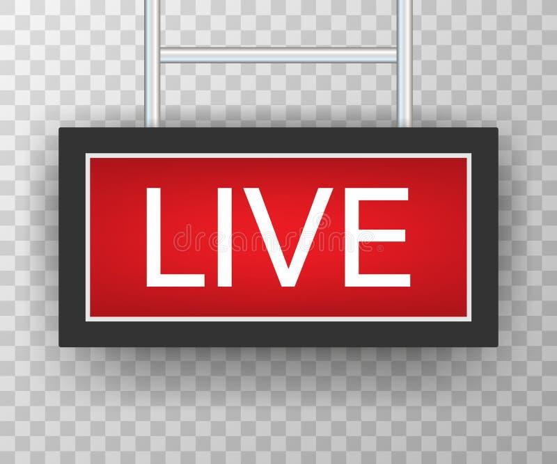 Broadcast studio live light. live sign radio and television. Vector stock illustration royalty free illustration