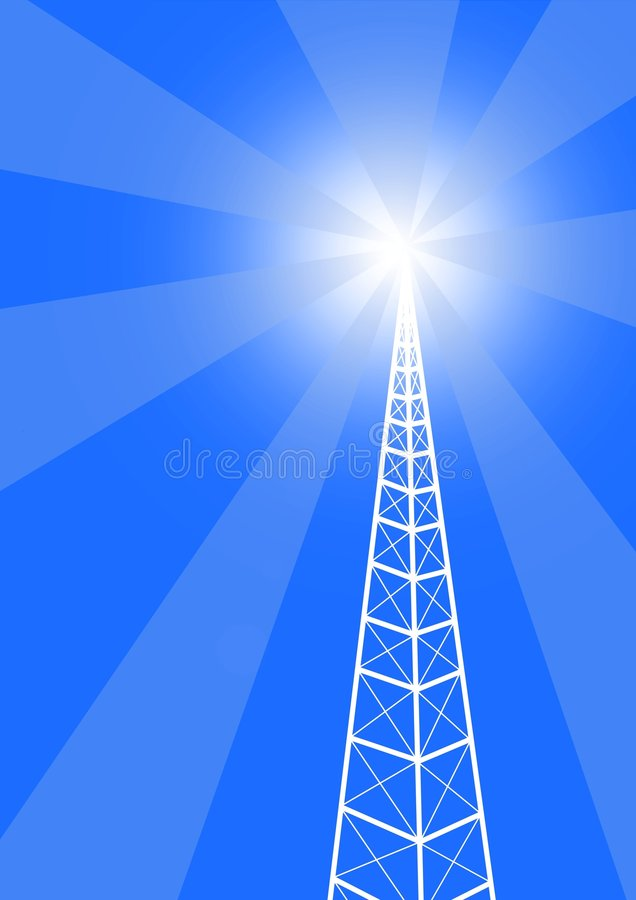 Broadcast Tower. Illustration of a communication tower with bright light coming from the top Also Available in green royalty free illustration