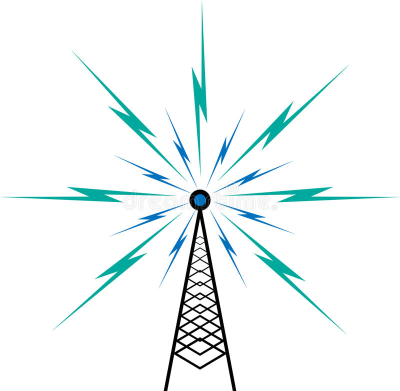 Broadcast tower. Vector illustration of broadcast tower on white vector illustration
