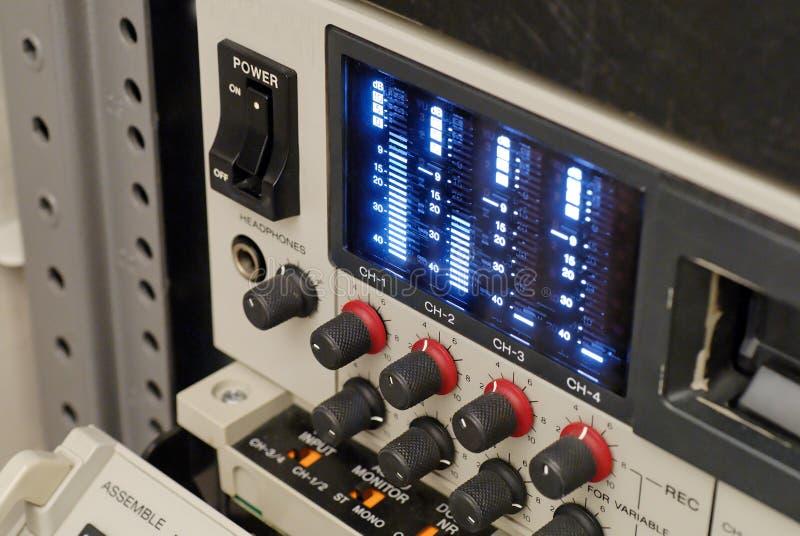 Broadcast vcr recorder, beta sp. A high tech broadcast beta sp recorder, audio meter close royalty free stock photos