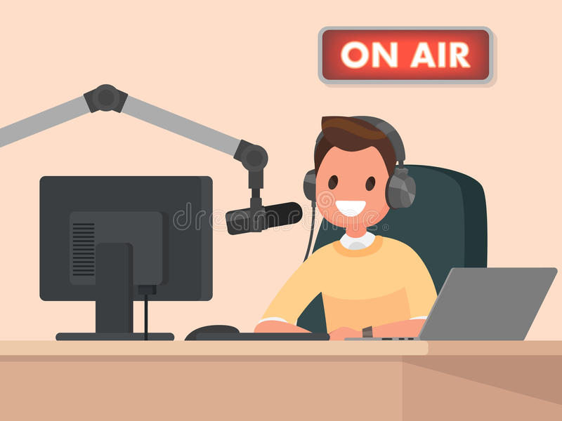 Broadcasting. Radio host behind a desk speaks into the microphone on the air. royalty free illustration