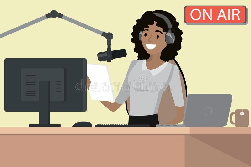 Broadcasting radio host speaks into the microphone on the air,. African american female behind a desk,cartoon vector illustration vector illustration