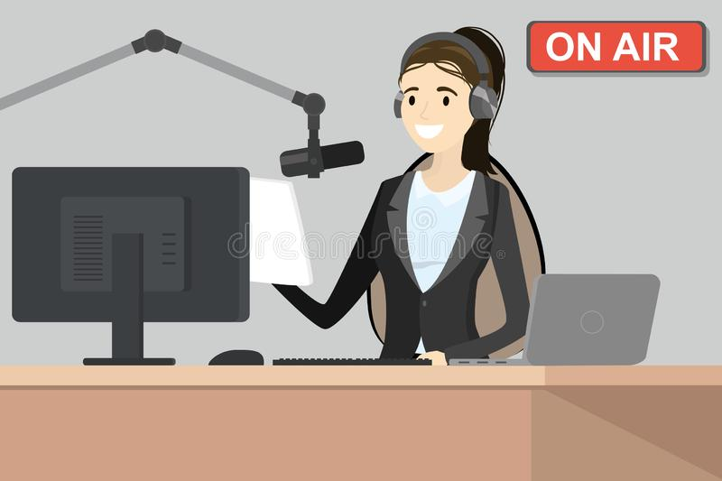 Broadcasting radio host speaks into the microphone on the air stock illustration