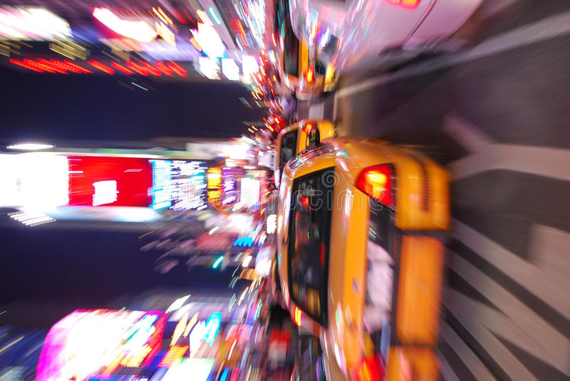 Broadway. Night scene with busy traffic and Times Square, New York City stock photos