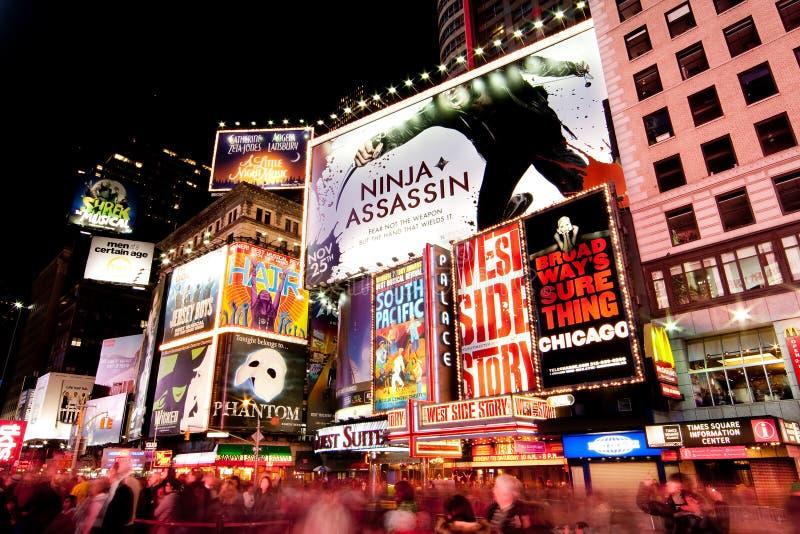 Broadway ajustent parfois par Night photo libre de droits