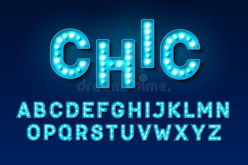 Broadway ilumina o alfabeto da ampola do estilo ilustração do vetor