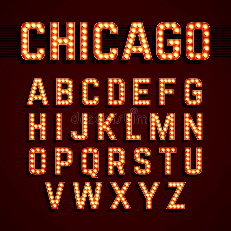 Broadway ilumina o alfabeto da ampola do estilo ilustração stock