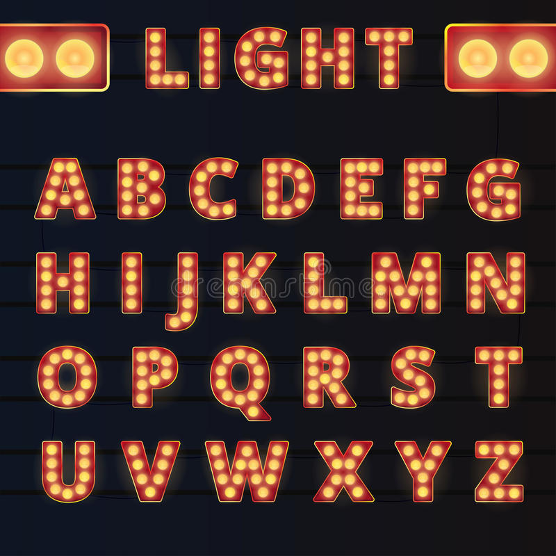 Broadway light bulb alphabet. Broadway style light bulb alphabet on rails and dark background vector illustration