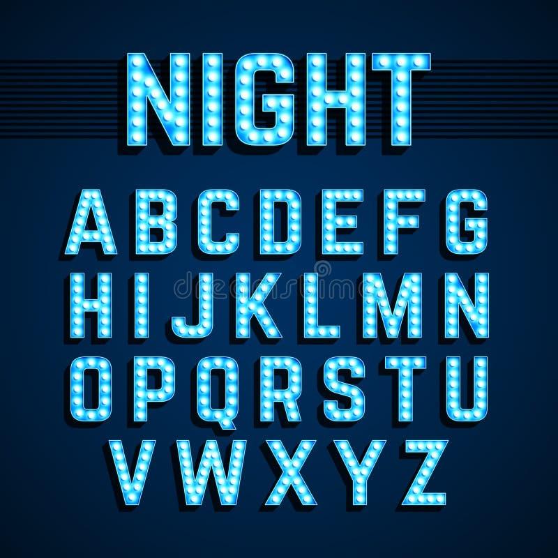 Broadway lights style light bulb alphabet, night show royalty free illustration