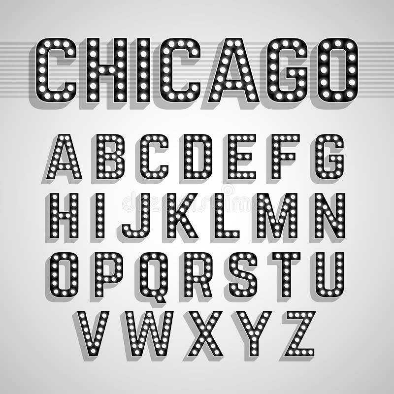 Broadway ljus utformar alfabet för ljus kula vektor illustrationer