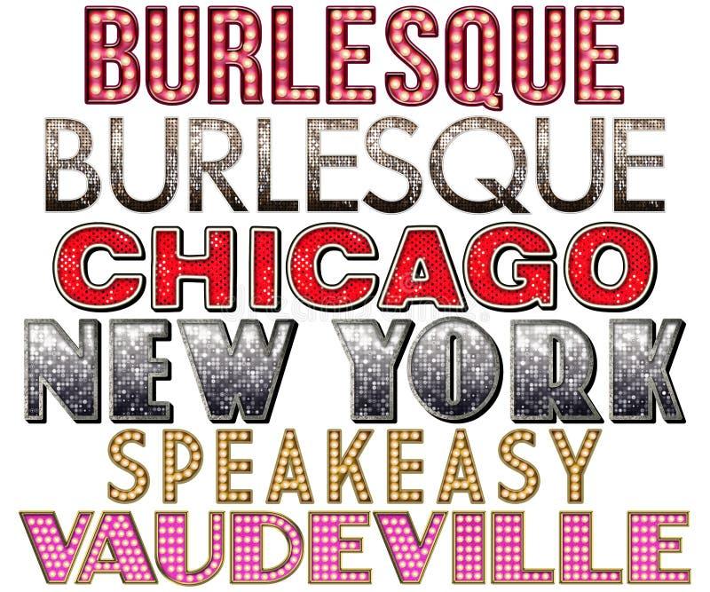 Broadway markizy burleski słowa kolekcja ilustracja wektor