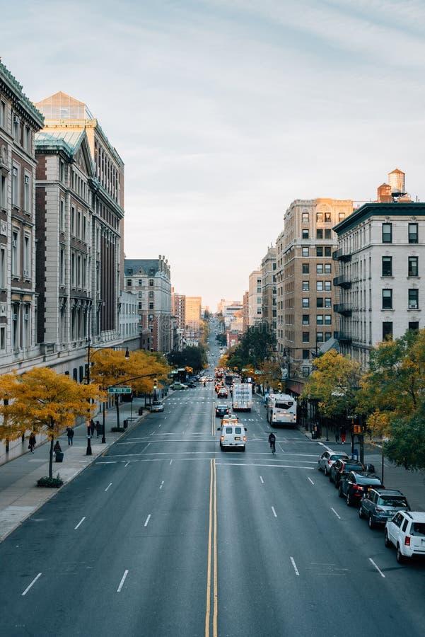 Broadway, in Morningside-Hoogten, de Stad van Manhattan, New York stock foto's