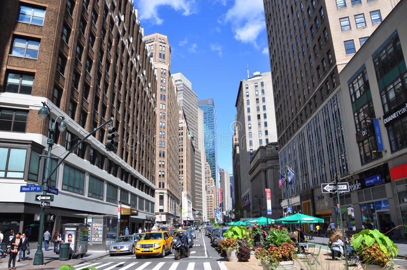Broadway near Herald Square, Midtown Manhattan. Intersection of Broadway and 35th Street near Herald Square, Midtown Manhattan, New York City, USA stock photos