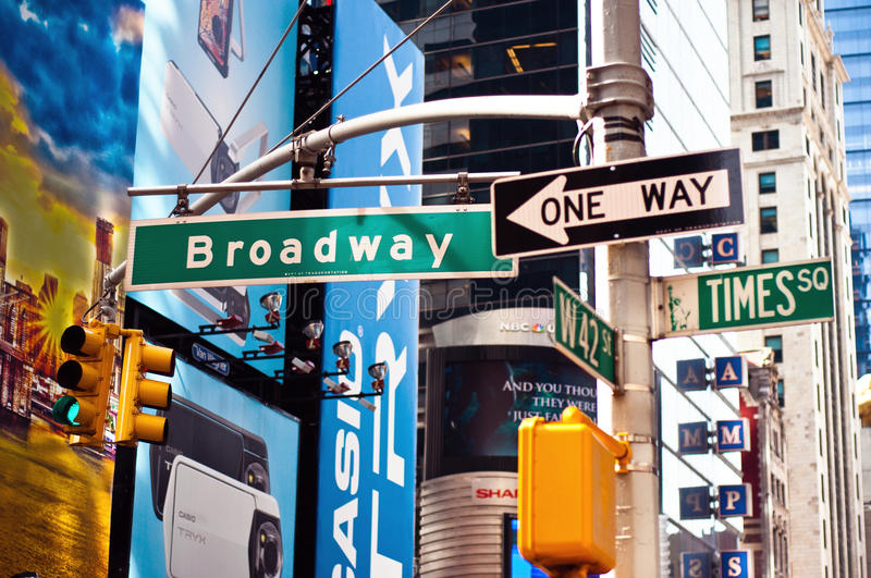 Broadway, New york city street sign. New york city, Downtown Manhattan street sign. Broadway, Times square and W42st