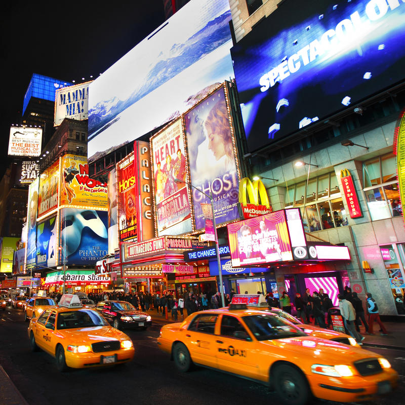 Broadway show billboards royalty free stock image