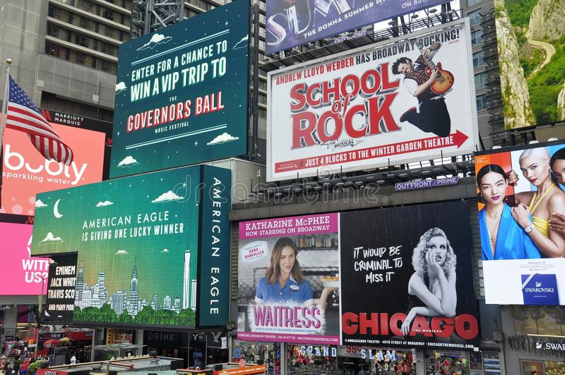 Broadway shows posters in Times Square, New York City. Broadway shows posters in Times Square , New York City, USA stock images