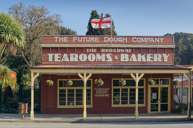 The Broadway Tearooms and Bakery, now known as The Future Dough Company, heritage building on the Broadway, Reefton. Reefton, Buller/New Zealand - October 3 royalty free stock images