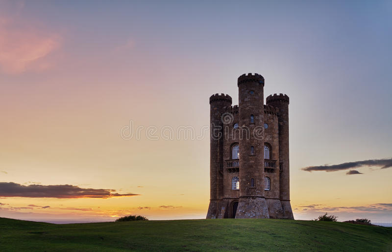 Broadway Tower at sunset, Cotswolds, UK royalty free stock photography