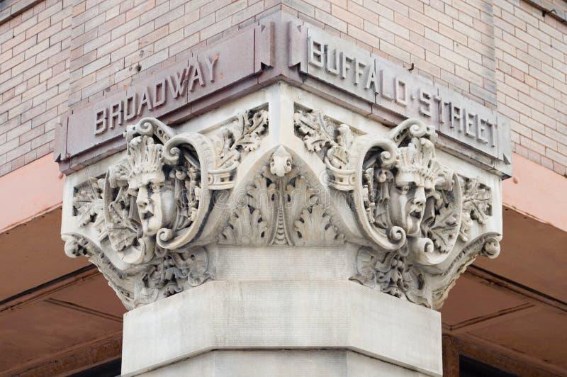 Broadway-und Büffel-Straßen-gotische Kunst stockbilder
