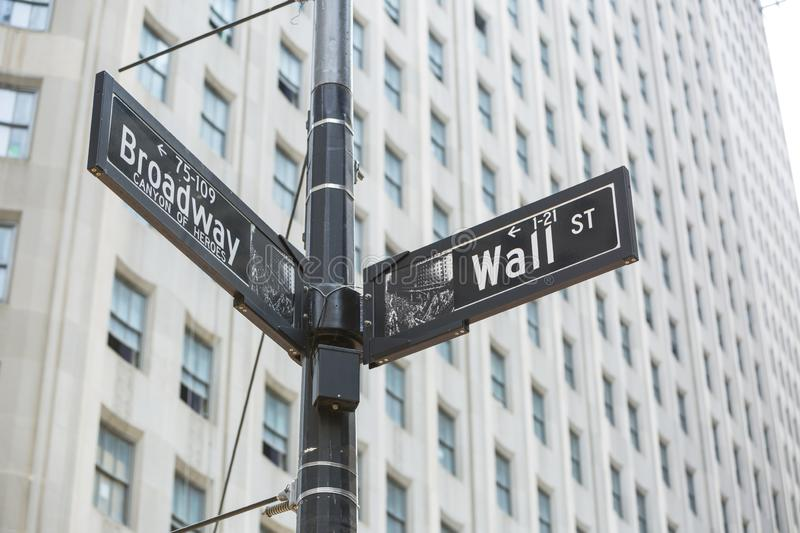 Broadway and Wall St., street sign, New York, USA Canyon of Heroes. Where business meets fashion royalty free stock photography